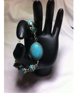 OOAK Turquoise Bracelet/Silver Plated Handmade Bangle Chain Beads Bracelet  - $21.50