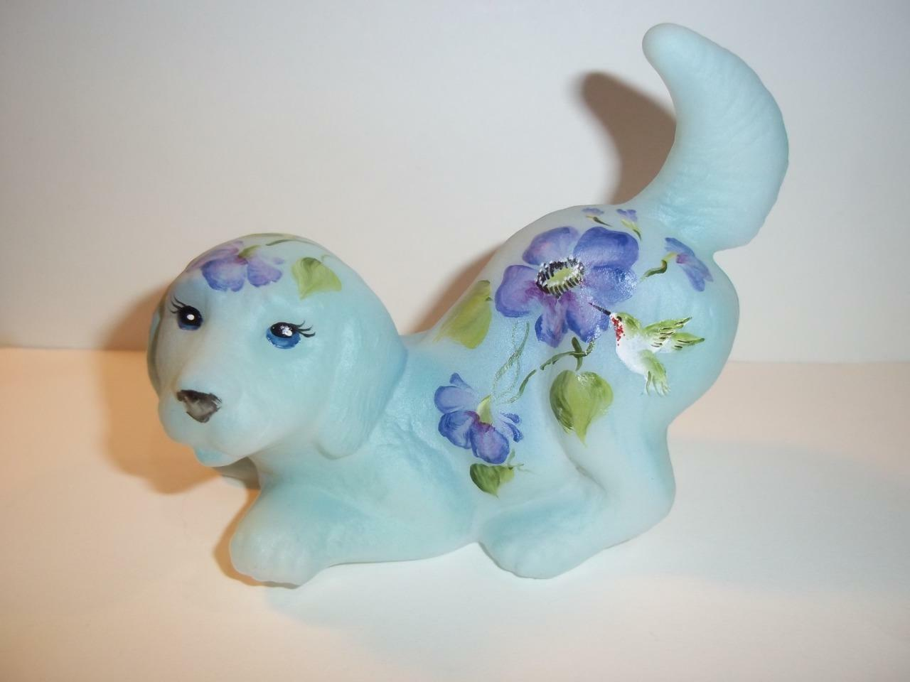 Fenton Glass Hummingbird Blue with Purple Flowers Puppy Dog #5/9 GSE M Kibbe