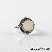 Sterling Silver Ring with Mother of Pearl Shell and Swiss Marcasite - $22.95