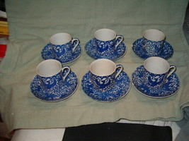 6 BLUE PHOENIX DEMI CUPS AND SAUCERS MADE IN JAPAN - $29.99