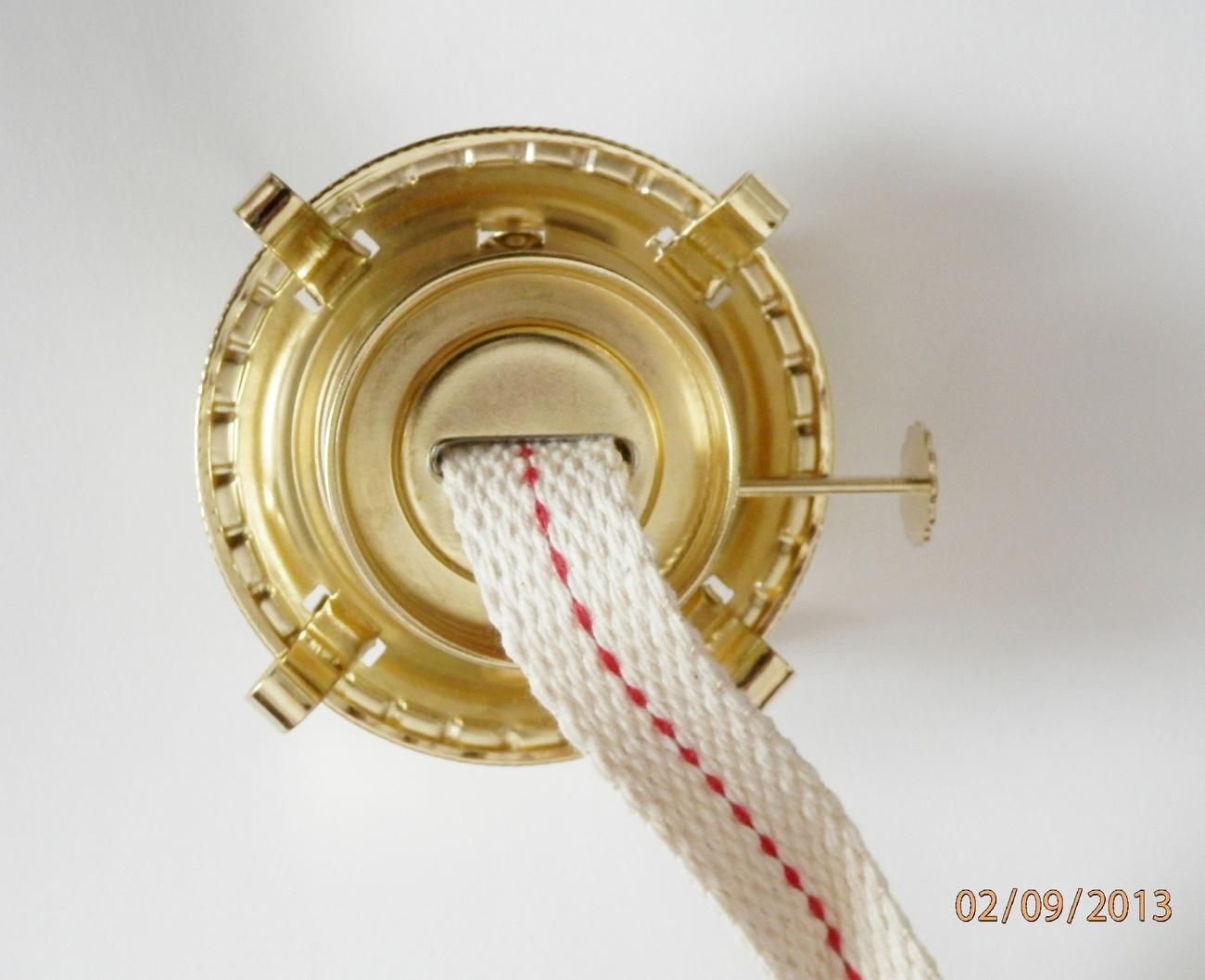 "Oil Lamp Burner-Brass Plated Threaded Collar-w/wick Fits 1-3/4"" collar"