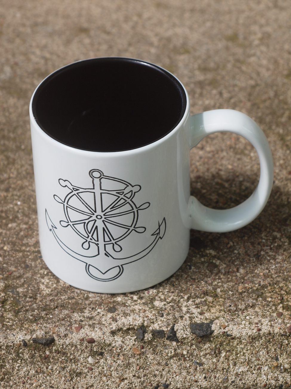 11 OZ WHITE COFFE MUG WITH NAUTICAL MOTIF