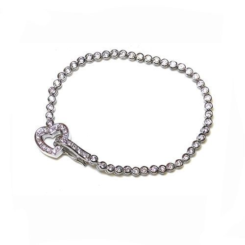 Primary image for BEZEL+PAVE HEART TOOGLE LOCK CUBIC ZIRCONIA TENNIS BRACELET