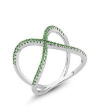 18 K White Gold Vermeil Pave Emerald Wavy X  Vvs Cubic Zirconia Knuckle Ring 925 - $49.99