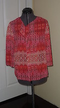 Notations Top Blouse Size S Red Print Nwt - $15.99