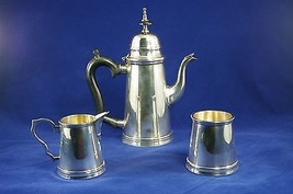 Art Deco Silver Plate 3pc Tea Serving Set Israe... - $32.73