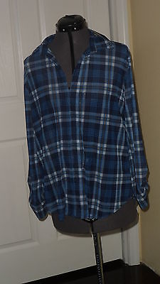 Primary image for G.COLLECTION TOP BLOUSE SIZE M BLUE PLAID STRETCH NWT