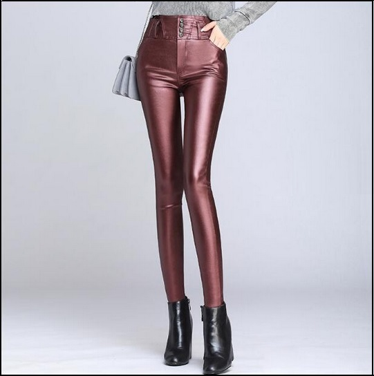 Red Wine Stretch Faux Leather High Waisted Button Up Skinny Pencil Trousers