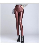 Red Wine Stretch Faux Leather High Waisted Button Up Skinny Pencil Trous... - $62.95