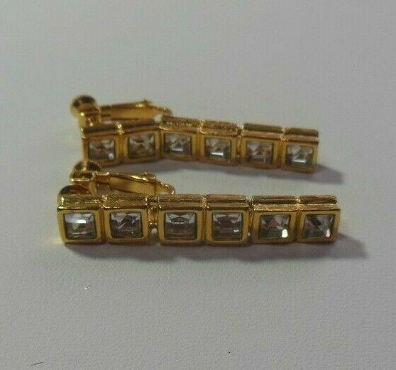 Primary image for Vintage Signed NAPIER Gold-tone Square Rhinestone Dangle Earrings