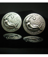 I Promise the Moon & stars Cufflinks art nouveau mystical silver art dec... - $225.00