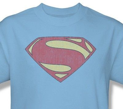 Superman T shirt Distressed Logo blue cotton graphic tee DC comics SM2060
