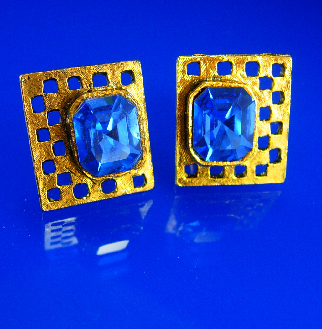Primary image for Vintage Blue Rhinestone Cufflinks gold wedding groom gift mens estate jewelry go
