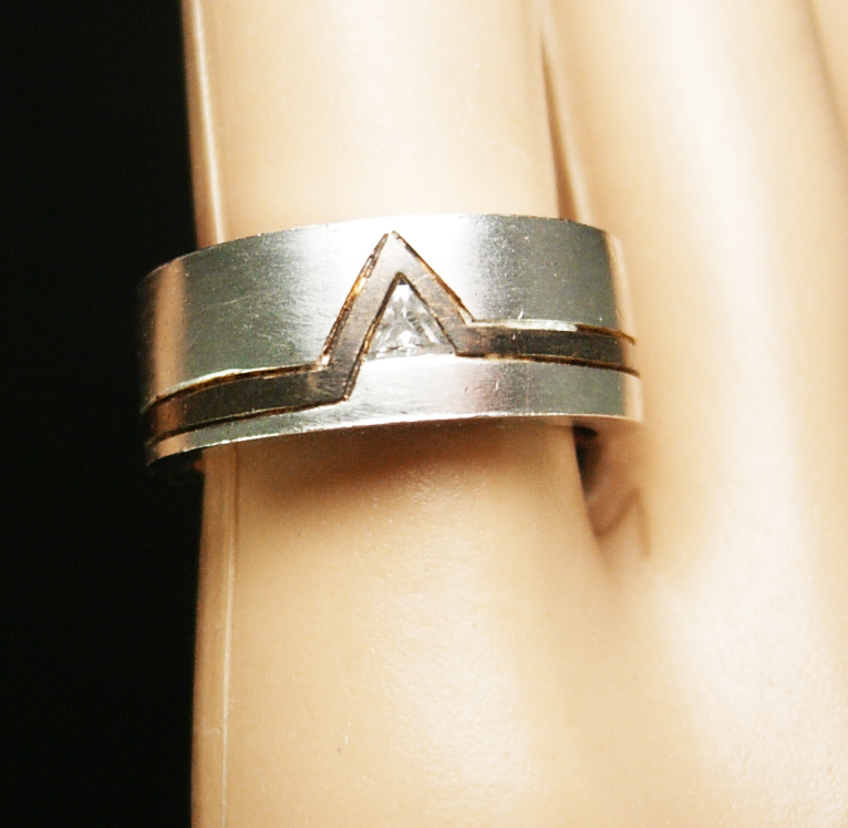 Primary image for Wedding band RING sterling and brass inlay with CZ Vintage Large Modernist jewel