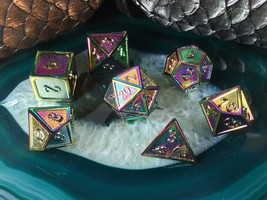 D&D METAL Dice Set Chromatic Burn Rainbow 7 Pieces + Bag d20 d12 d10 d% ... - $31.95