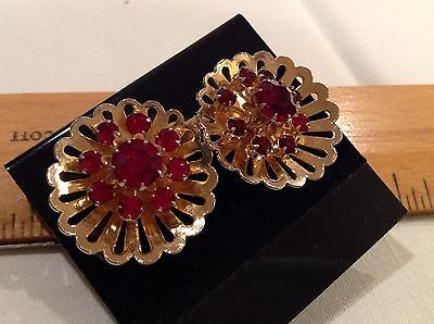 "Primary image for 1"" Vintage Coro Earrings Red Rhinestones Rosette Gold Tone Screw On Fasteners"