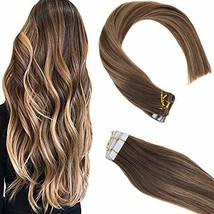 Sunny Tape Hair Extensions Ombre 20 inch Seamless Remy Hair Extensions #4 Dark B