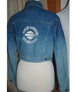 HARLEY-DAVIDSON Cropped Fitted BLUE DENIM JEAN JACKET Cotton Women's XS - $78.71