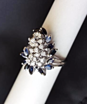 FLORAL BOUQUET EVERYDAY RING DIAMONDS (0.43CTW) SAPPHIRES (1.30CTW) 14K ... - $895.00