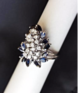 FLORAL BOUQUET EVERYDAY RING DIAMONDS (0.43CTW) SAPPHIRES (1.30CTW) 14K ... - $895.00