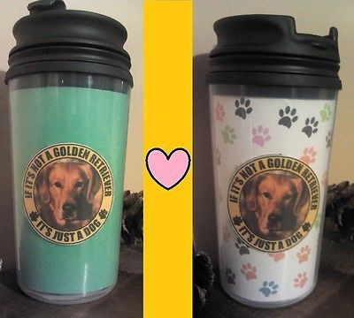 Primary image for Golden Retriever Travel Mug Love My Dog Drinking Cup Coffee PHOTO INSERT MUGS