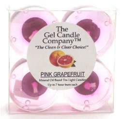 Pink Grapefruit Scented Gel Candle Tea Lights - 4 pk.