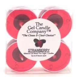 Strawberry Scented Gel Candle Tea Lights - 4 pk.