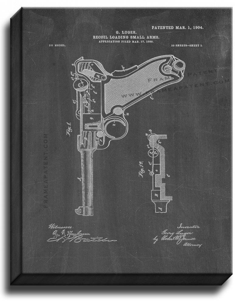 Primary image for Luger Recoil Loading Small Arms Patent Print Chalkboard on Canvas