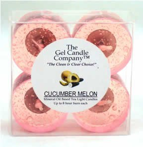 Cucumber Melon Scented Gel Candle Tea Lights - 4 pk.