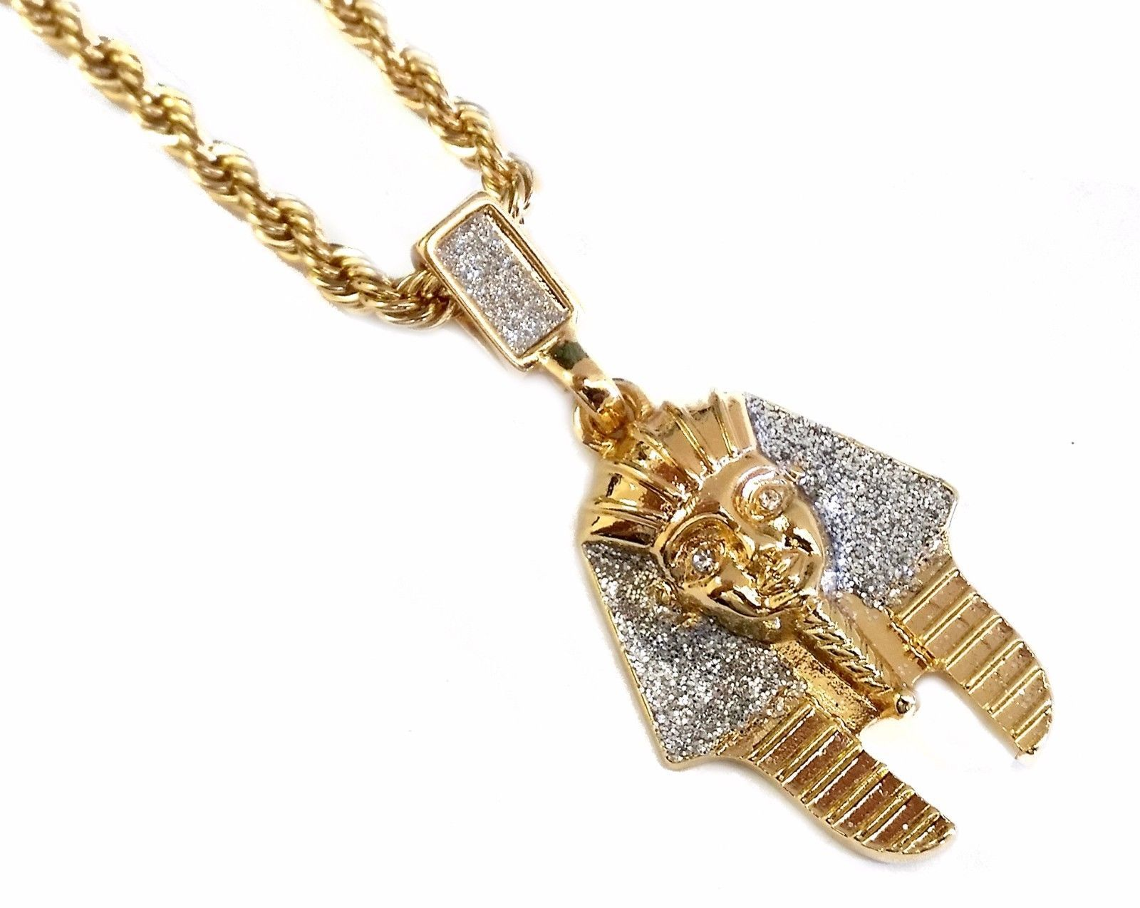 Primary image for NEW 18k Gold Plated Egyptian Pharoah Pendant Hip Hop Necklace