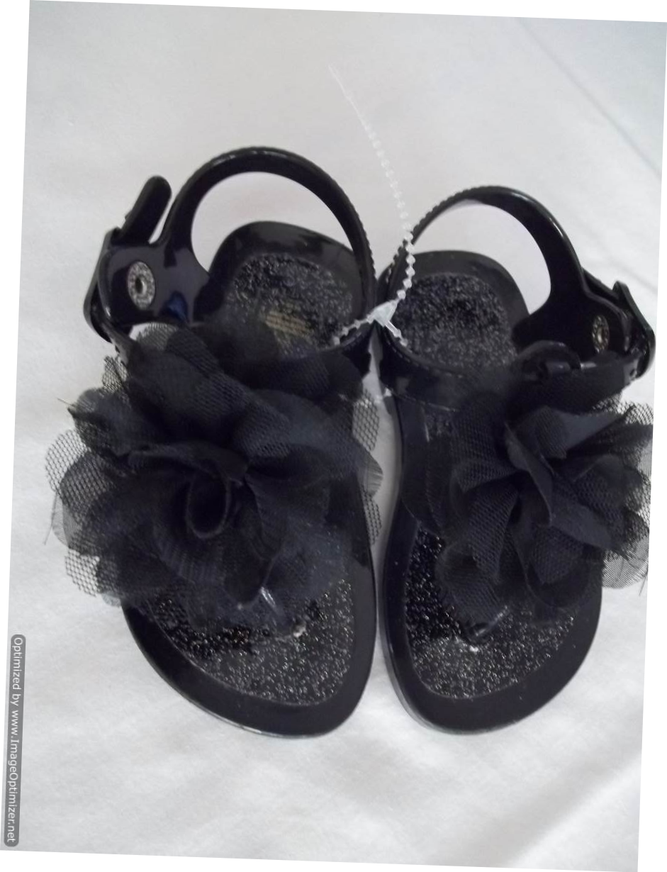 Primary image for Jelly Toddlers Sandles - Black with Cloth Bows - Size: 4 - NEW without box