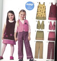Girls Jumper, Vest Pants and Pull on Skirt Simplicity 5489 Sz 3-8 UNCUT - $2.00