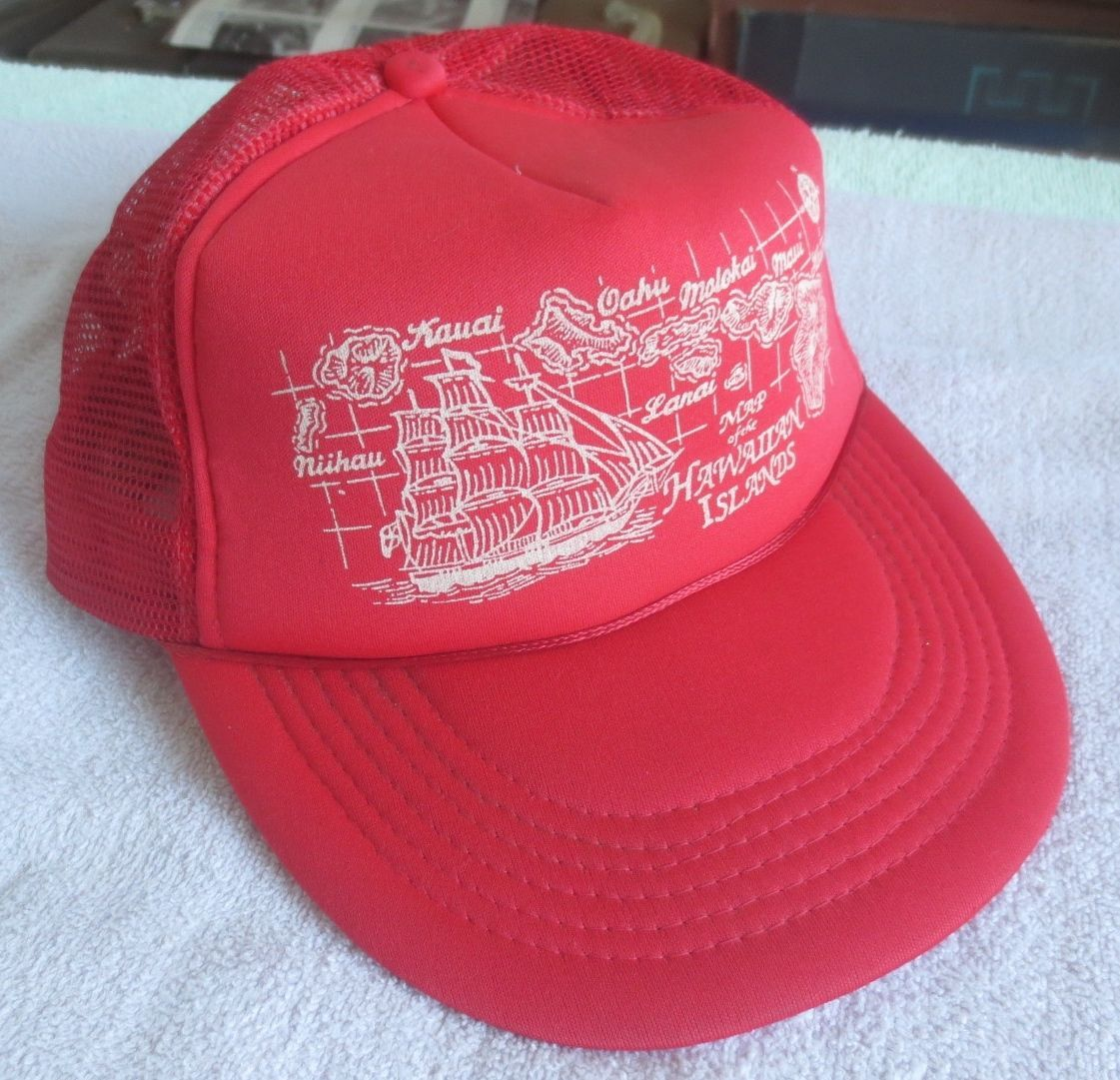 "Primary image for Vintage ""Map Of The Hawaiian Islands"" Red Truckers Style Hat W/Mesh"