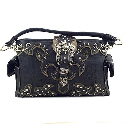 Crocodile Western Buckle Purse Rhinestone Studded Shoulder Bag w/ Concealed Weap