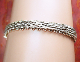 Taxco Sterling Ornate Bracelet Heavy well made Signed TJ 36 Vintage Silv... - $95.00