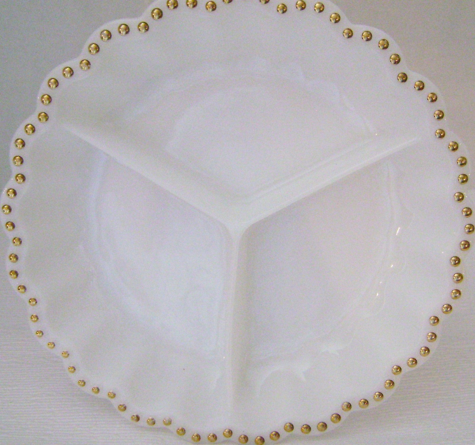 Primary image for Vintage Milk glass Divided Round  Relish  Dish with Gold Dots on the Rim