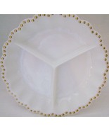 Vintage Milk glass Divided Round  Relish  Dish with Gold Dots on the Rim - $10.00