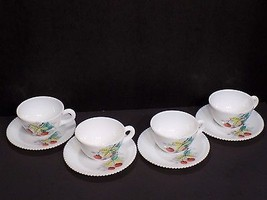Vintage Set of 4 Westmoreland Hand Painted Milk Glass Strawberry Cups Saucers - $61.88