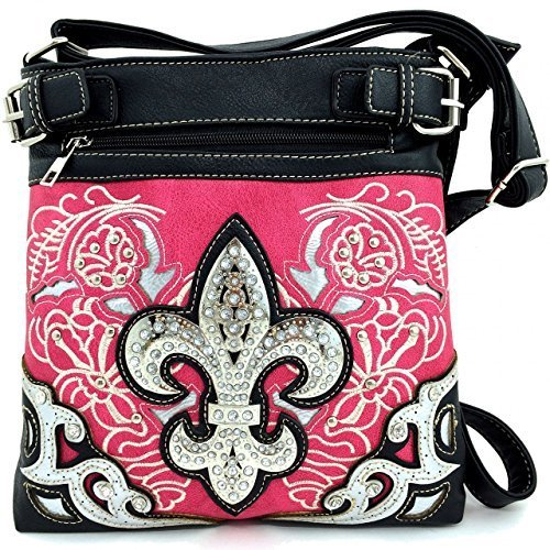 Rhinestone Fleur De Lis Messenger Bag Cross Body Purse Concealed Gun Pocket (Pin