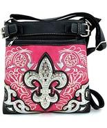 Rhinestone Fleur De Lis Messenger Bag Cross Bod... - $35.63