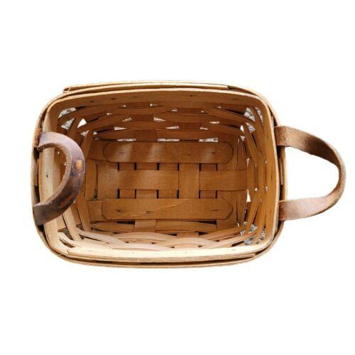 Longaberger Brown Leather Handle Basket Handwoven 1988 - $12.99