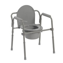 Medical Toilet Safety Seet Folding Commode Steel Bedside Arms Mobility F... - $36.47