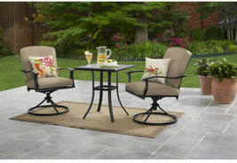 3-Piece Patio Bistro Set Table Swivel Chairs Seats 2 Outdoor Dining Furn... - $279.29