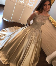 10x610 dress long long dress glitter majestic gold longarmed dress glamour long sleeves thumb200