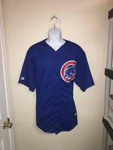 Chicago Cubs Majestic Mens MLB Jersey Blue V-Neck Button Front Short Sle... - $36.18