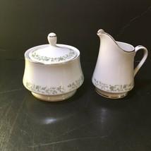 Creamer Sugar Bowl with Lid Montclair Mikasa G 9059 Green Floral Vine - $14.50