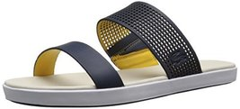 Lacoste Women's Natoy 216 1 Slide Sandal, Navy/Light Yellow, 5 M US