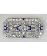 Antique Platinum Pendant/Brooch w/ Diamond 7.00tdw I1 J & .70tcw Blue Sp... - $10,500.00