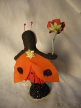 Vintage inspired Spun Cotton Ornament Ladybug Girl no. E47 B image 2