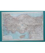 "TURKEY Asia Minor Cyprus Syria - 1914 MAP 11 x 16"" (28 x 41 cm) - $35.96"